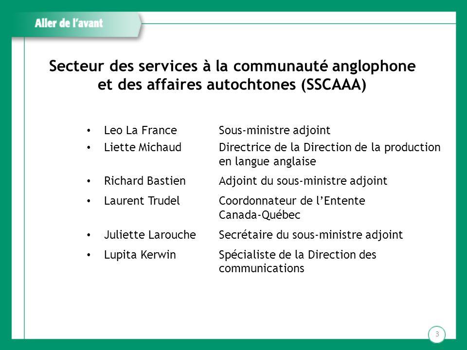 Secteur des services à la communauté anglophone et des affaires autochtones (SSCAAA) Leo La France Liette Michaud Richard Bastien Laurent Trudel Julie