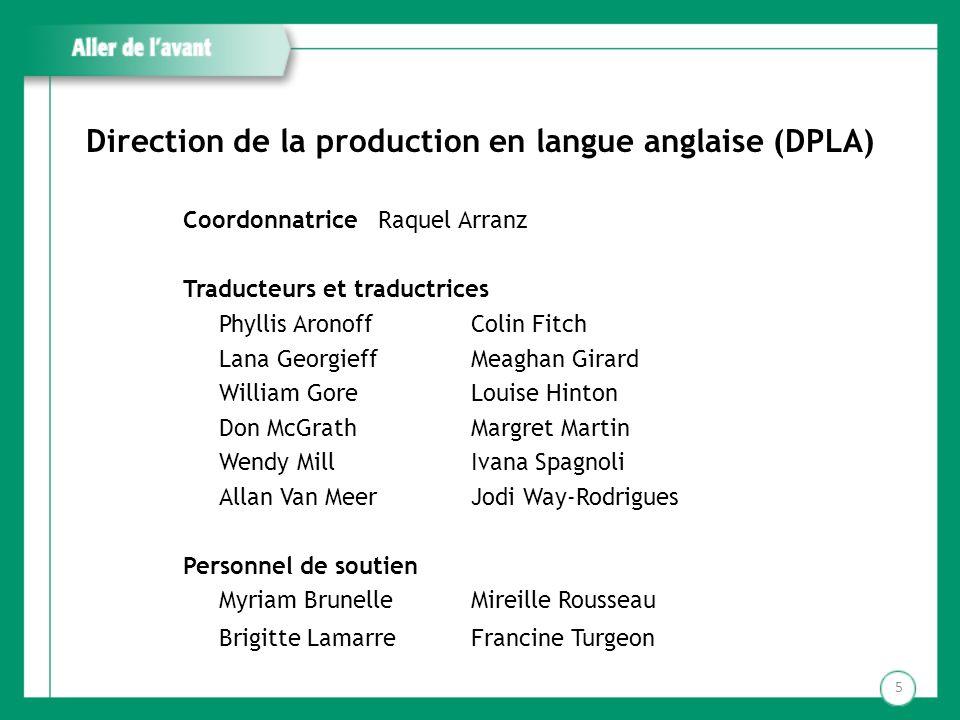 Direction de la production en langue anglaise (DPLA) Coordonnatrice Raquel Arranz Traducteurs et traductrices Phyllis AronoffColin Fitch Lana Georgief