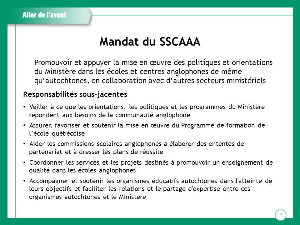 Mandat du SSCAAA Promouvoir et appuyer la mise en œuvre des politiques et orientations du Ministère dans les écoles et centres anglophones de même qua