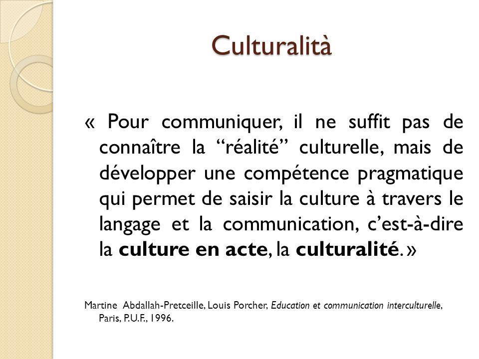 Cultura e Culturalità « Bien que lon puisse sattribuer une culture donnée à un moment donné (culture comme produit), cette attribution évolue en même temps que la situation de communication (culture comme processus).