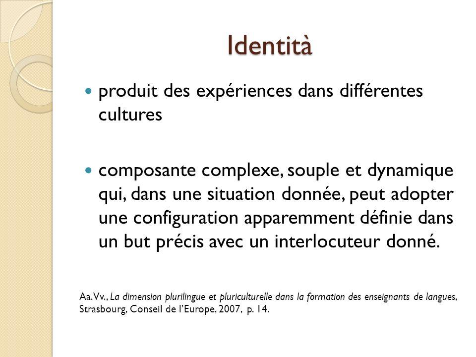 Identità produit des expériences dans différentes cultures composante complexe, souple et dynamique qui, dans une situation donnée, peut adopter une configuration apparemment définie dans un but précis avec un interlocuteur donné.