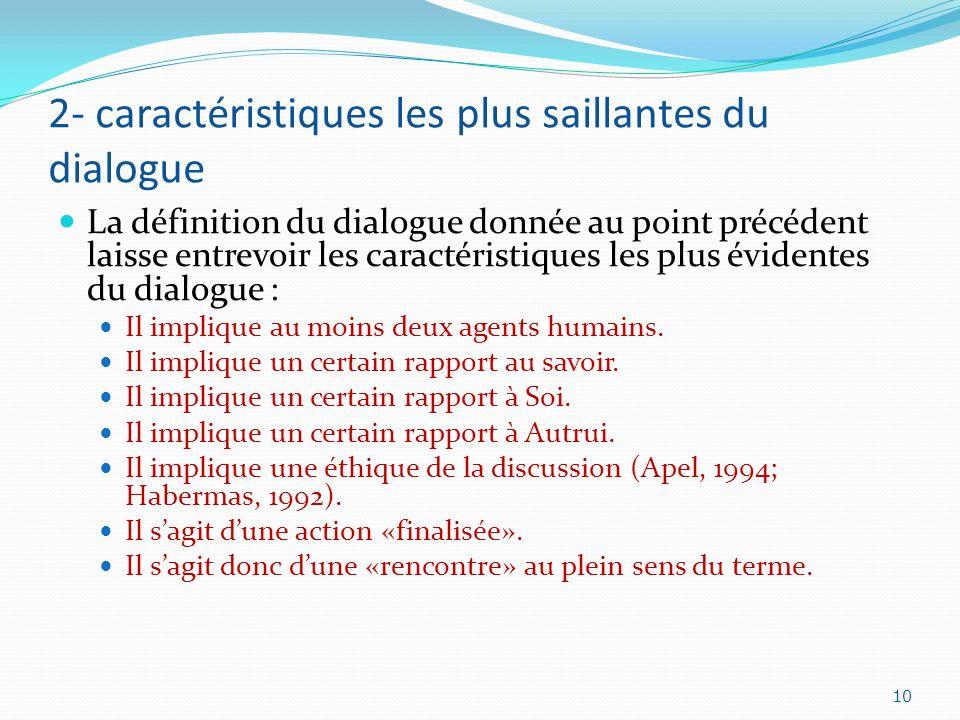 2- caractéristiques les plus saillantes du dialogue La définition du dialogue donnée au point précédent laisse entrevoir les caractéristiques les plus