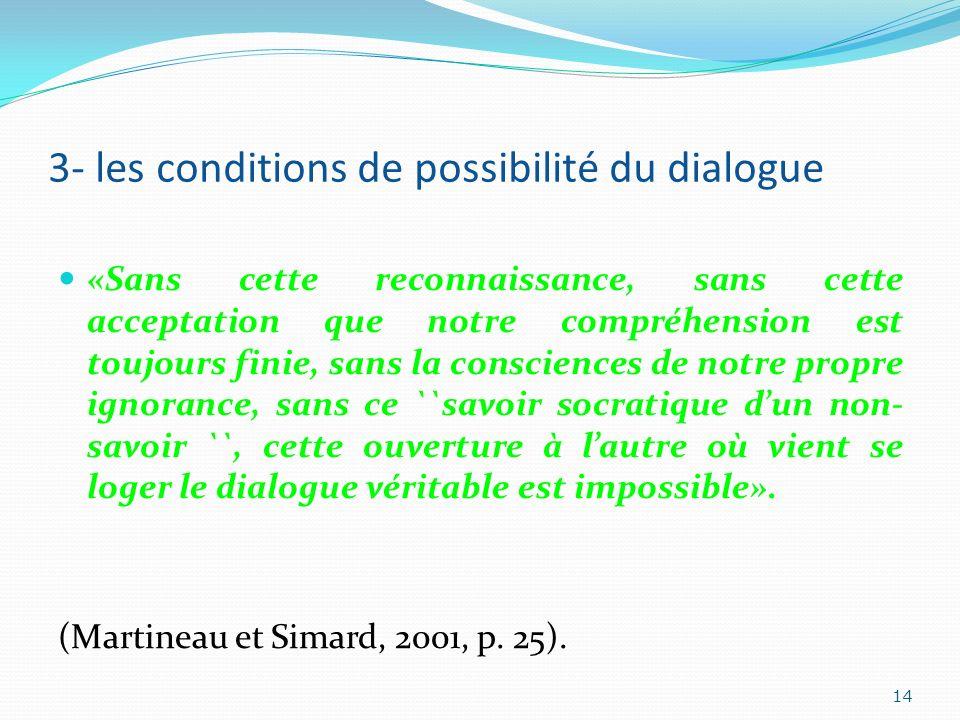 3- les conditions de possibilité du dialogue «Sans cette reconnaissance, sans cette acceptation que notre compréhension est toujours finie, sans la co