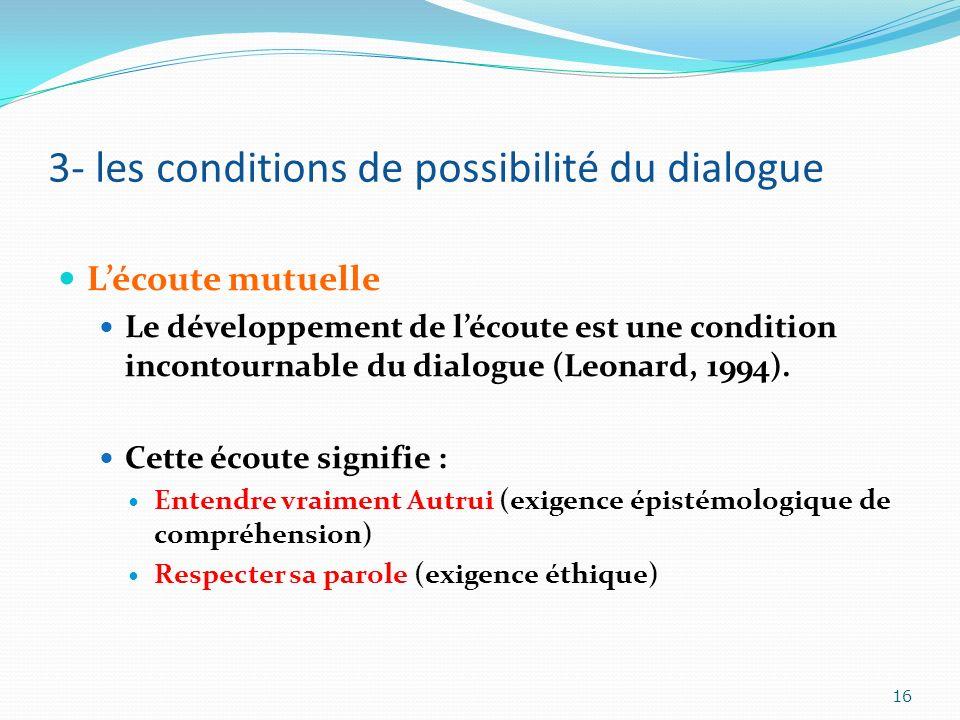 3- les conditions de possibilité du dialogue Lécoute mutuelle Le développement de lécoute est une condition incontournable du dialogue (Leonard, 1994)