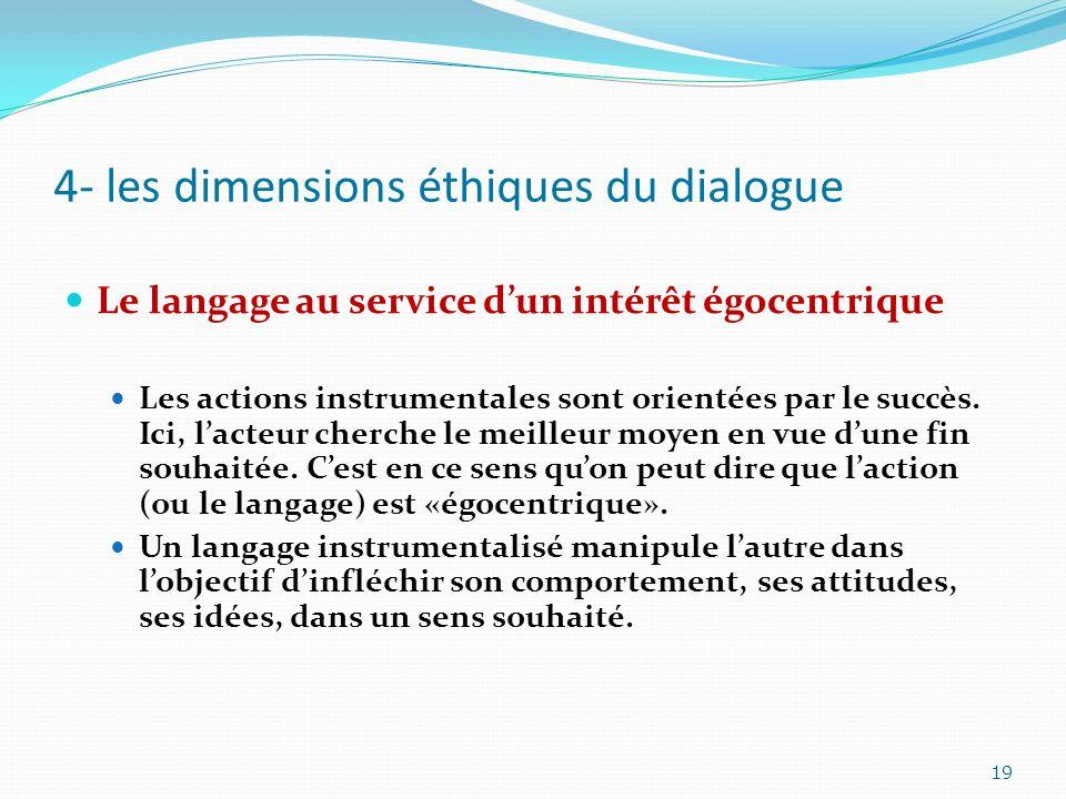 4- les dimensions éthiques du dialogue Le langage au service dun intérêt égocentrique Les actions instrumentales sont orientées par le succès. Ici, la