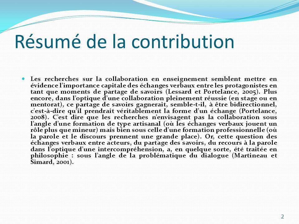 Résumé de la contribution Les recherches sur la collaboration en enseignement semblent mettre en évidence limportance capitale des échanges verbaux en