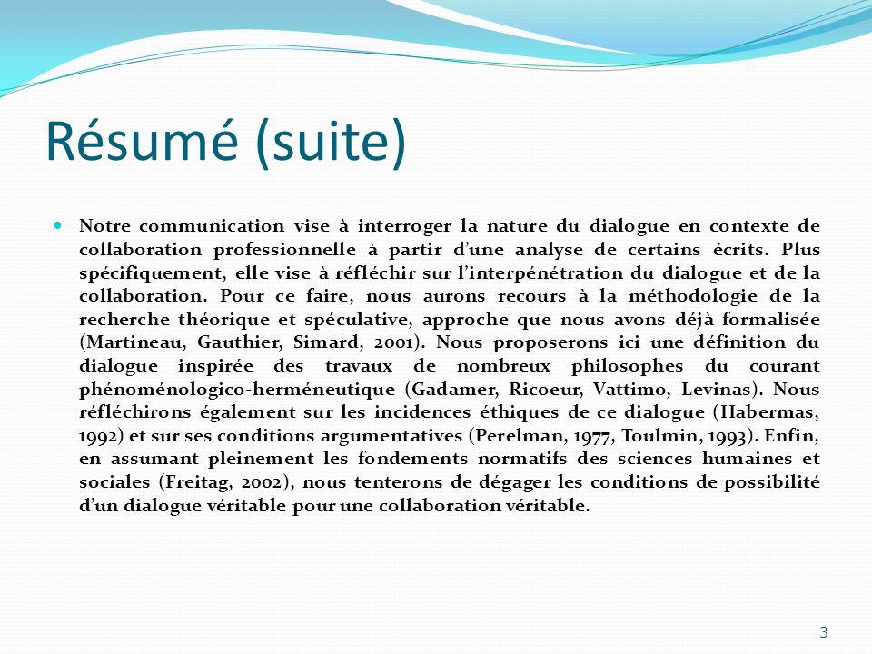 Résumé (suite) Notre communication vise à interroger la nature du dialogue en contexte de collaboration professionnelle à partir dune analyse de certa