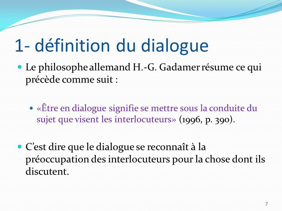 1- définition du dialogue Le philosophe allemand H.-G. Gadamer résume ce qui précède comme suit : «Être en dialogue signifie se mettre sous la conduit