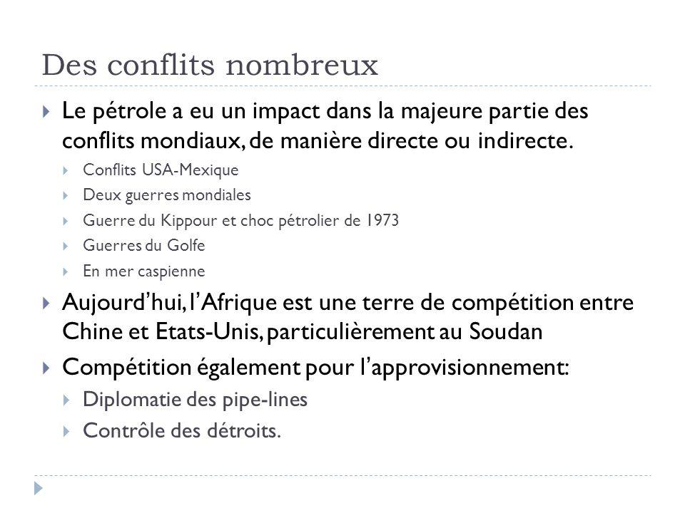 Des conflits nombreux Le pétrole a eu un impact dans la majeure partie des conflits mondiaux, de manière directe ou indirecte. Conflits USA-Mexique De