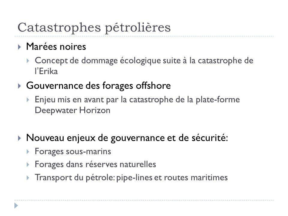 Catastrophes pétrolières Marées noires Concept de dommage écologique suite à la catastrophe de lErika Gouvernance des forages offshore Enjeu mis en av
