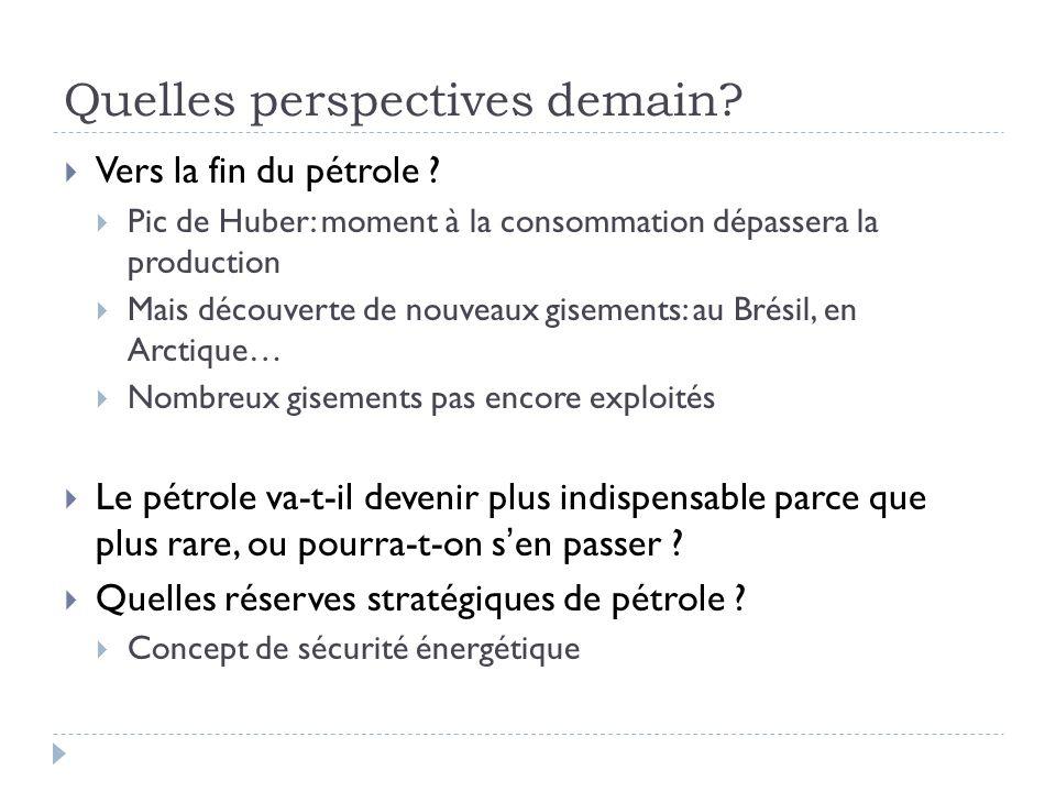 Quelles perspectives demain? Vers la fin du pétrole ? Pic de Huber: moment à la consommation dépassera la production Mais découverte de nouveaux gisem