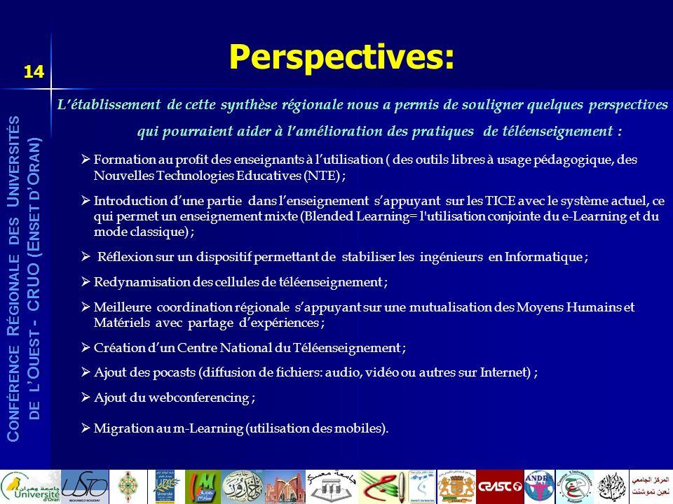 C ONFÉRENCE R ÉGIONALE DES U NIVERSITÉS DE L O UEST - CRUO (E NSET D O RAN ) 14 Perspectives: Létablissement de cette synthèse régionale nous a permis