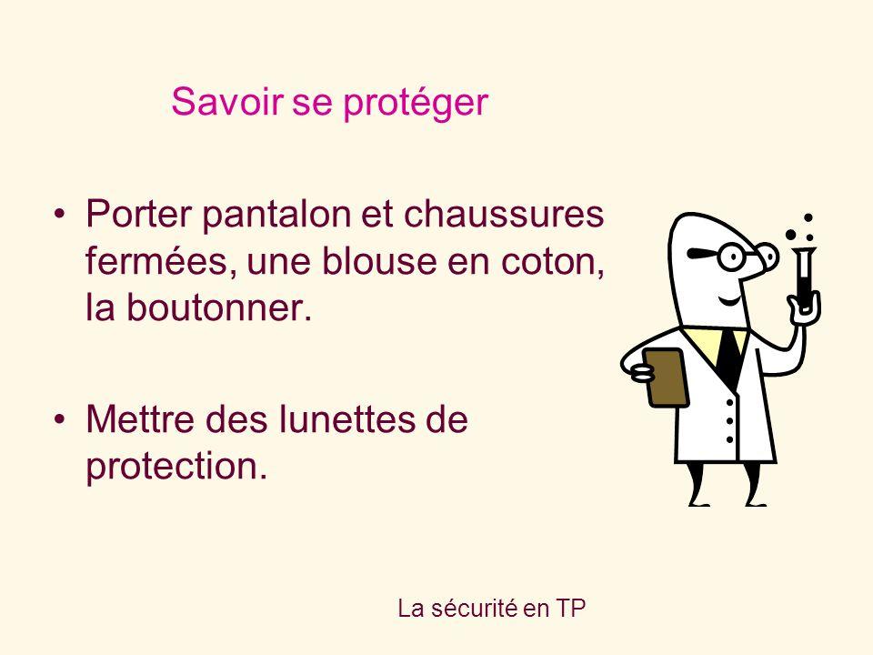 La sécurité en TP Savoir se protéger Porter pantalon et chaussures fermées, une blouse en coton, la boutonner. Mettre des lunettes de protection.