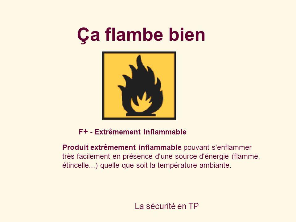 La sécurité en TP F + - Extrêmement Inflammable Produit extrêmement inflammable pouvant s'enflammer très facilement en présence d'une source d'énergie