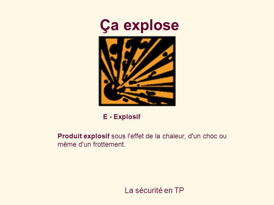 La sécurité en TP E - Explosif Produit explosif sous l'effet de la chaleur, d'un choc ou même d'un frottement. Ça explose