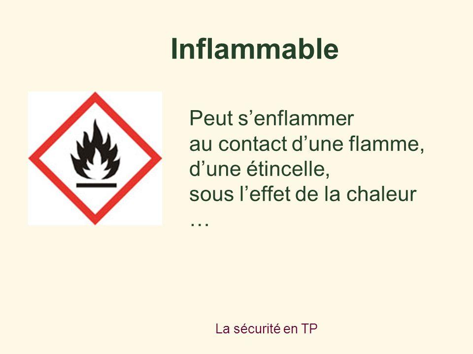 La sécurité en TP Peut senflammer au contact dune flamme, dune étincelle, sous leffet de la chaleur … Inflammable