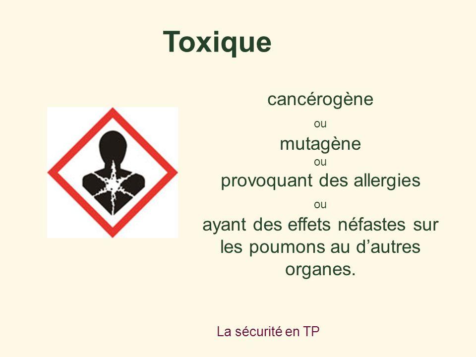 La sécurité en TP cancérogène ou mutagène ou provoquant des allergies ou ayant des effets néfastes sur les poumons au dautres organes. Toxique