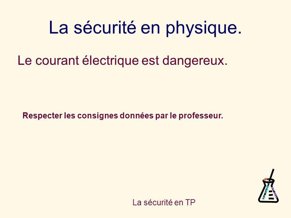 La sécurité en TP La sécurité en physique. Le courant électrique est dangereux. Respecter les consignes données par le professeur.