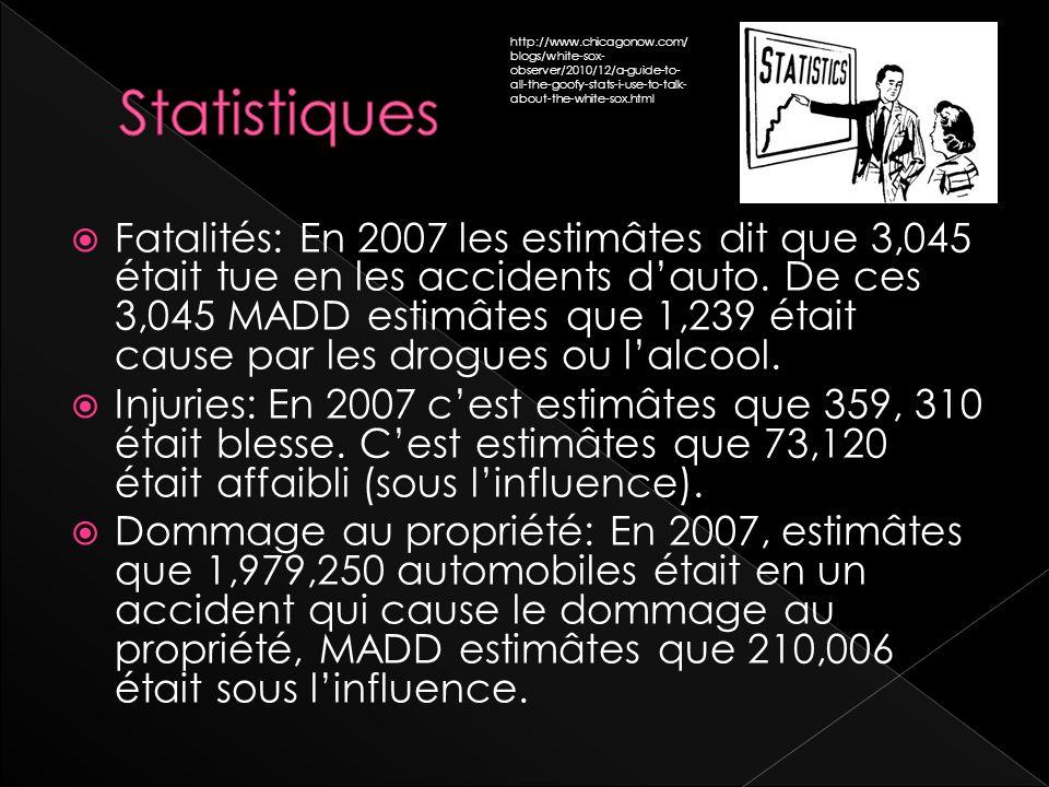 Fatalités: En 2007 les estimâtes dit que 3,045 était tue en les accidents dauto.