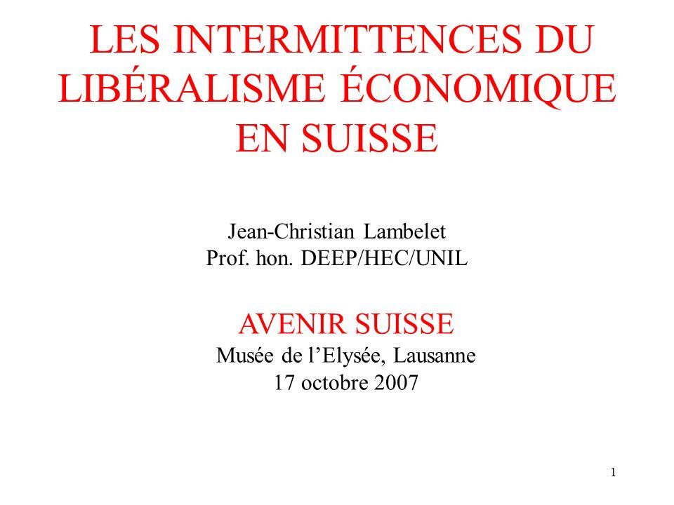 1 LES INTERMITTENCES DU LIBÉRALISME ÉCONOMIQUE EN SUISSE AVENIR SUISSE Musée de lElysée, Lausanne 17 octobre 2007 Jean-Christian Lambelet Prof.