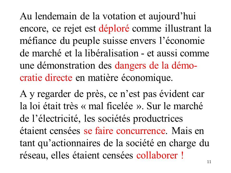 11 Au lendemain de la votation et aujourdhui encore, ce rejet est déploré comme illustrant la méfiance du peuple suisse envers léconomie de marché et la libéralisation - et aussi comme une démonstration des dangers de la démo- cratie directe en matière économique.