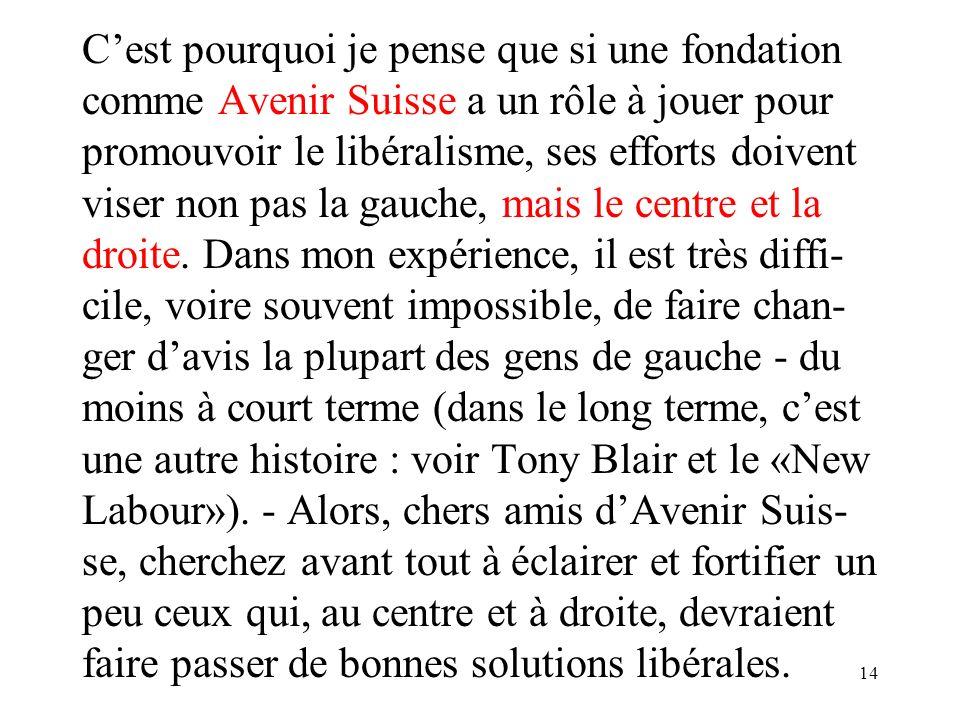 14 Cest pourquoi je pense que si une fondation comme Avenir Suisse a un rôle à jouer pour promouvoir le libéralisme, ses efforts doivent viser non pas la gauche, mais le centre et la droite.