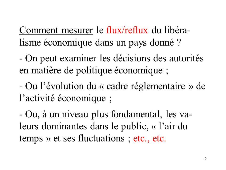 2 Comment mesurer le flux/reflux du libéra- lisme économique dans un pays donné .