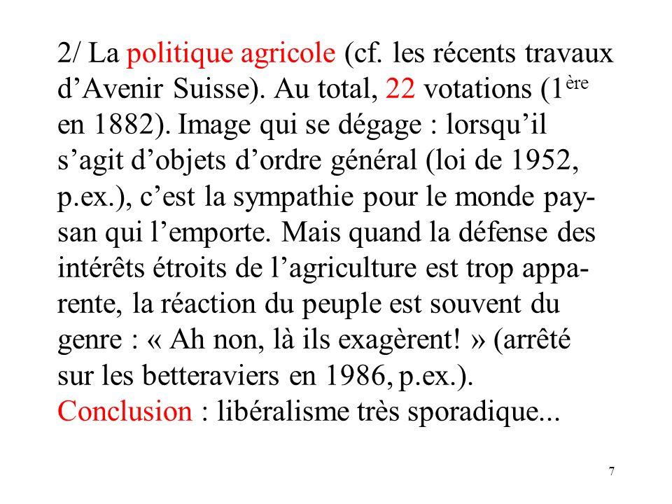 7 2/ La politique agricole (cf. les récents travaux dAvenir Suisse).