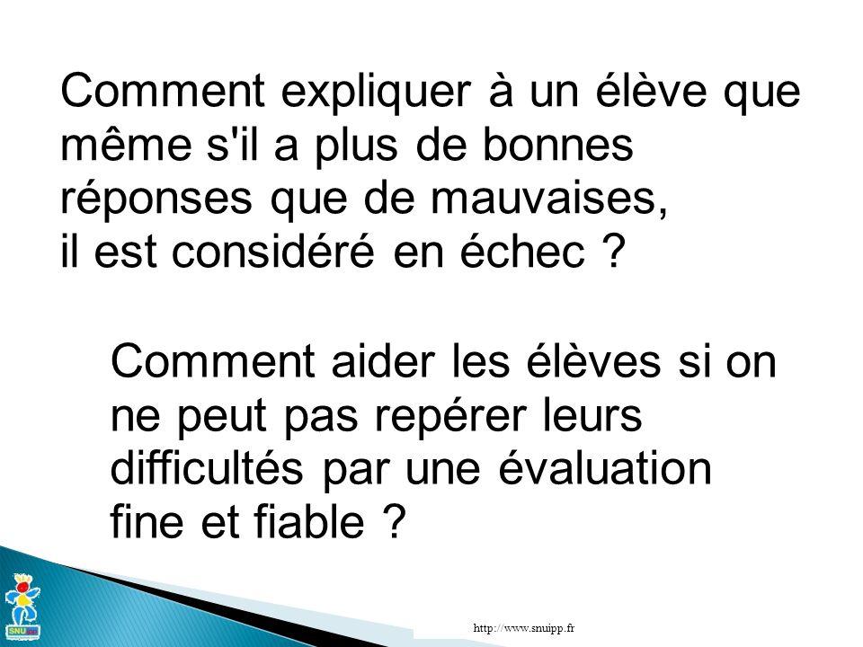 Comment expliquer à un élève que même s'il a plus de bonnes réponses que de mauvaises, il est considéré en échec ? http://www.snuipp.fr Comment aider