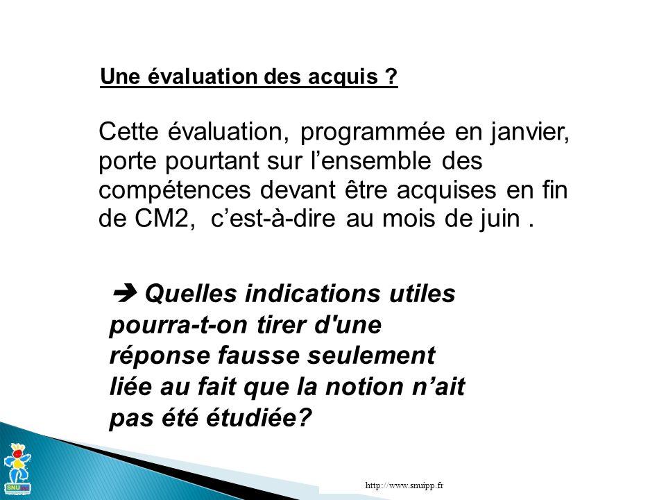 http://www.snuipp.fr Une évaluation des acquis ? Cette évaluation, programmée en janvier, porte pourtant sur lensemble des compétences devant être acq