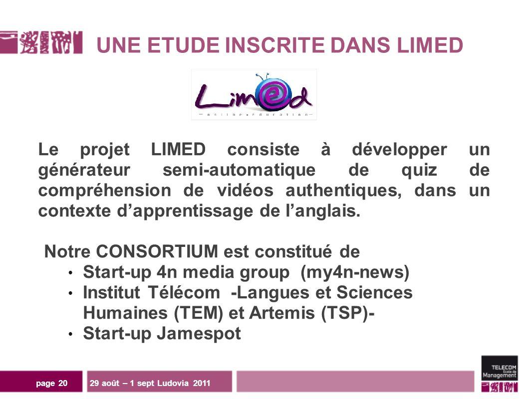 UNE ETUDE INSCRITE DANS LIMED Le projet LIMED consiste à développer un générateur semi-automatique de quiz de compréhension de vidéos authentiques, dans un contexte dapprentissage de langlais.