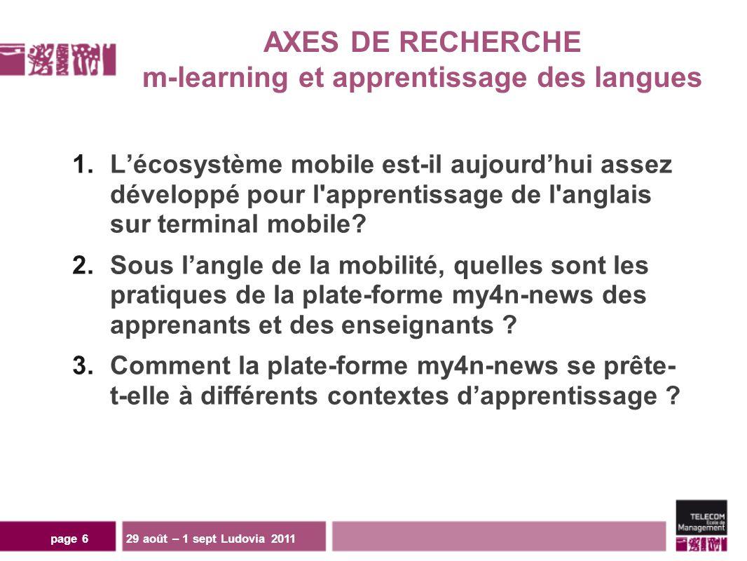 page 6 1.Lécosystème mobile est-il aujourdhui assez développé pour l apprentissage de l anglais sur terminal mobile.