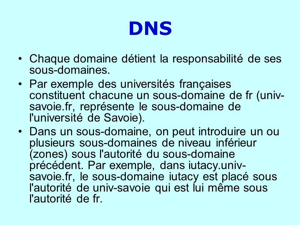 DNS Chaque domaine détient la responsabilité de ses sous-domaines. Par exemple des universités françaises constituent chacune un sous-domaine de fr (u