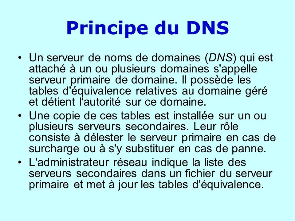 Principe du DNS Un serveur de noms de domaines (DNS) qui est attaché à un ou plusieurs domaines s'appelle serveur primaire de domaine. Il possède les