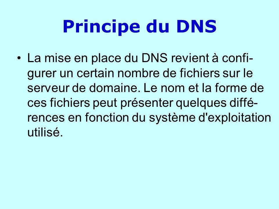 Principe du DNS La mise en place du DNS revient à confi- gurer un certain nombre de fichiers sur le serveur de domaine. Le nom et la forme de ces fich