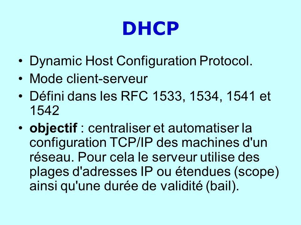 DHCP Dynamic Host Configuration Protocol. Mode client-serveur Défini dans les RFC 1533, 1534, 1541 et 1542 objectif : centraliser et automatiser la co