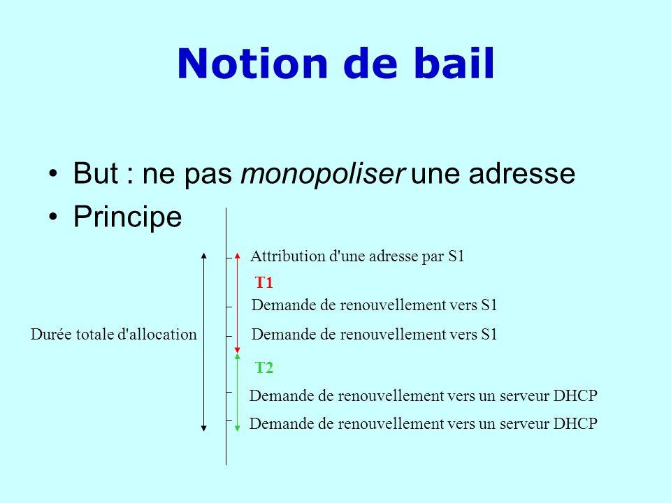 Notion de bail But : ne pas monopoliser une adresse Principe Durée totale d'allocation Attribution d'une adresse par S1 Demande de renouvellement vers