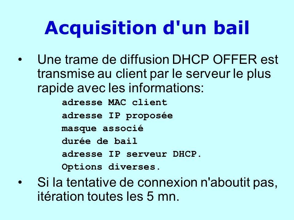 Acquisition d'un bail Une trame de diffusion DHCP OFFER est transmise au client par le serveur le plus rapide avec les informations: adresse MAC clien