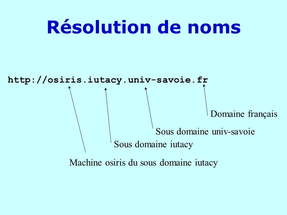 DNS Chaque domaine détient la responsabilité de ses sous-domaines Exemples : cs.yale.edu www.esia2.univ-savoie.fr Info.itu.ch fr a autorité sur univ-savoie qui a autorité sur le serveur esia2 de lesia