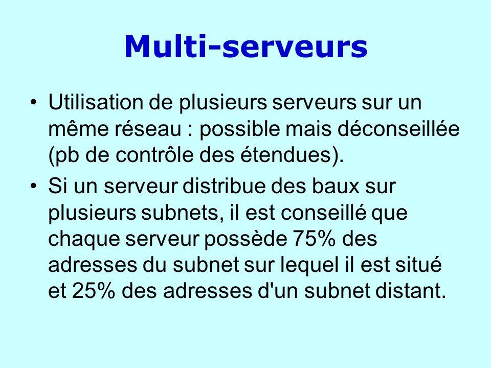 Multi-serveurs Utilisation de plusieurs serveurs sur un même réseau : possible mais déconseillée (pb de contrôle des étendues). Si un serveur distribu