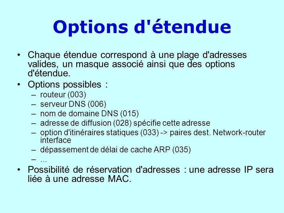 Options d'étendue Chaque étendue correspond à une plage d'adresses valides, un masque associé ainsi que des options d'étendue. Options possibles : –ro