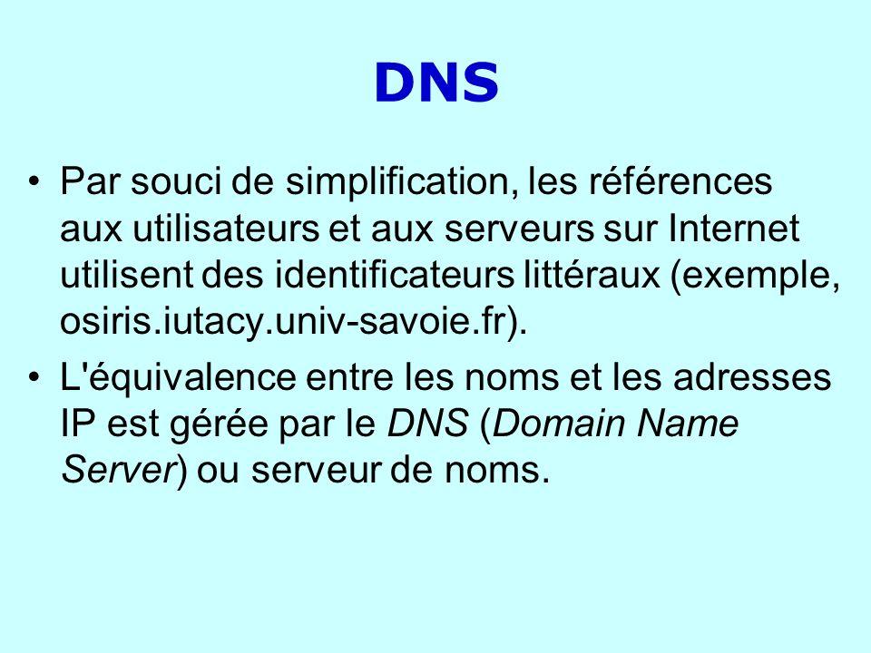 DNS Par souci de simplification, les références aux utilisateurs et aux serveurs sur Internet utilisent des identificateurs littéraux (exemple, osiris
