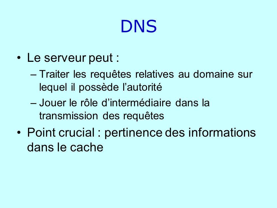 DNS Le serveur peut : –Traiter les requêtes relatives au domaine sur lequel il possède lautorité –Jouer le rôle dintermédiaire dans la transmission de