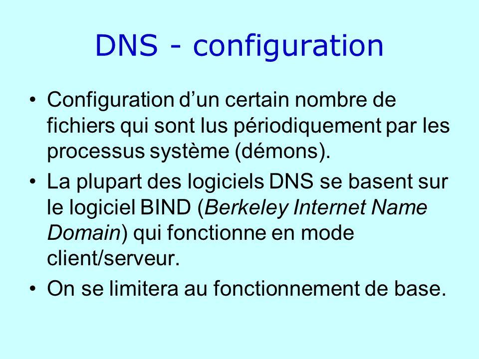 DNS - configuration Configuration dun certain nombre de fichiers qui sont lus périodiquement par les processus système (démons). La plupart des logici