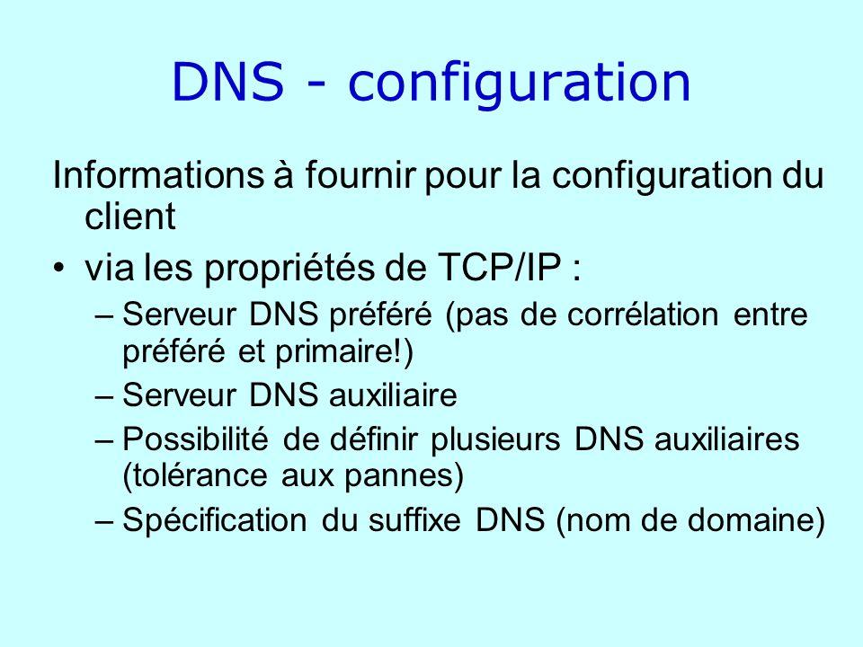 DNS - configuration Informations à fournir pour la configuration du client via les propriétés de TCP/IP : –Serveur DNS préféré (pas de corrélation ent