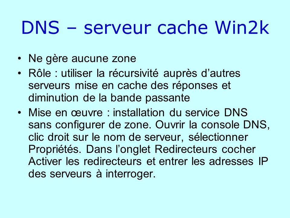 DNS – serveur cache Win2k Ne gère aucune zone Rôle : utiliser la récursivité auprès dautres serveurs mise en cache des réponses et diminution de la ba