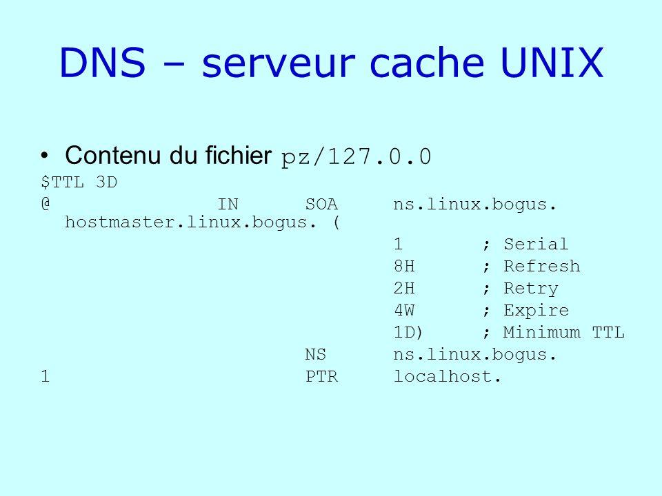 DNS – serveur cache UNIX Contenu du fichier pz/127.0.0 $TTL 3D @ IN SOA ns.linux.bogus. hostmaster.linux.bogus. ( 1 ; Serial 8H ; Refresh 2H ; Retry 4