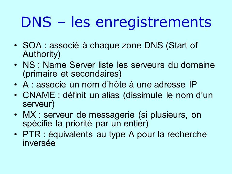 DNS – les enregistrements SOA : associé à chaque zone DNS (Start of Authority) NS : Name Server liste les serveurs du domaine (primaire et secondaires