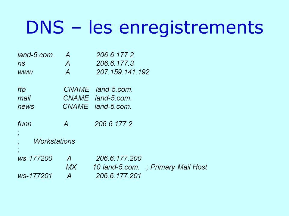 DNS – les enregistrements land-5.com. A 206.6.177.2 ns A 206.6.177.3 www A 207.159.141.192 ftp CNAME land-5.com. mail CNAME land-5.com. news CNAME lan