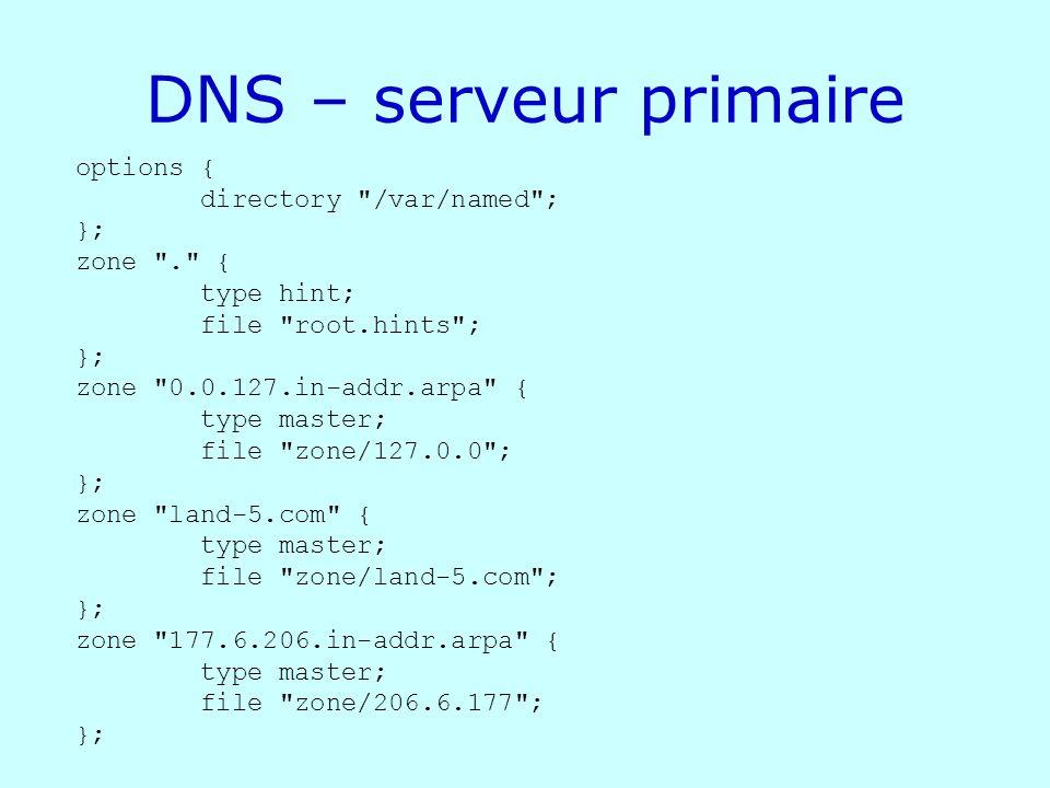 DNS – serveur primaire options { directory